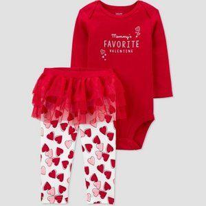 Baby Girl NB Mommy's Favorite Valentine Set w/bow